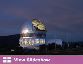 The dome of the Hobby-Eberly Telescope is opened for a night's observing.