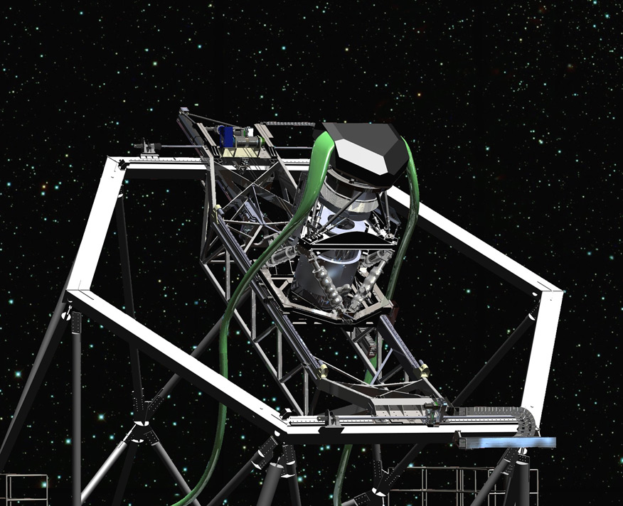 An artist's concept shows a close-up view of the new tracker assembly. The green ribbons are bundles of fiberoptic cables, which carry light to the telescope's instruments.